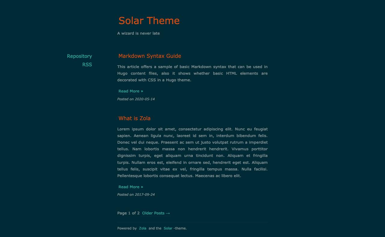 Screenshot of solar-theme-zola