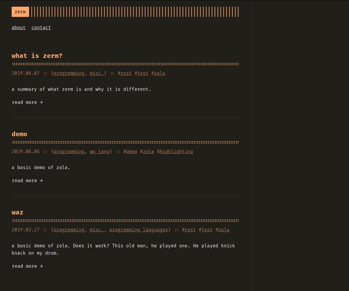 Screenshot of zerm
